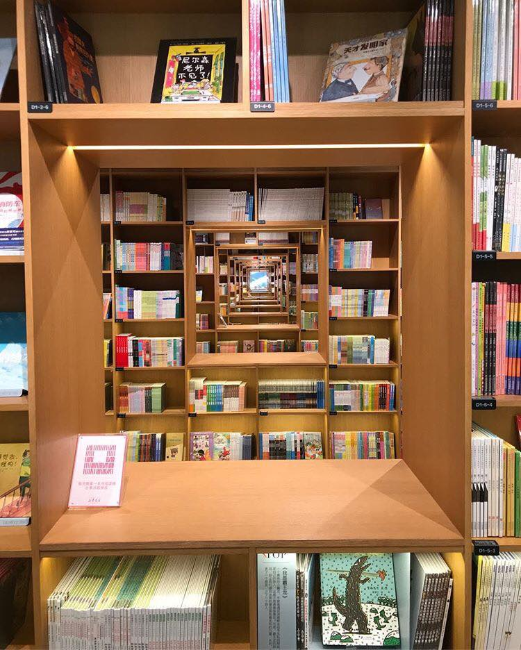 Communication holes through the long rows of shelving